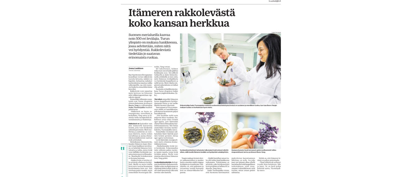 The Finnish media takes an interest in edible seaweeds of the Baltic Sea